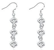 Personality OL Fine S925 Silver Simplicity Cubic Zircon Drop Earrings for Women Wedding Party Jewelry