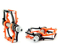 Cycling Aluminium Alloy Convenient Solid  Pedals Orange and Black with One Pair