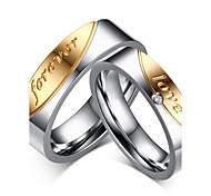 "2016 ""Forever Love"" Noble Titanium Steel CZ Stone Wedding Couples Ring  For Women&Man"