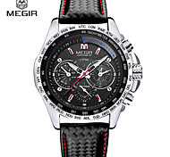 MEGIR® Men's Leather Band Black/White Case 30M Water Resistant Noctilucent Sports Dress Watch(Include Package)With Watch Box