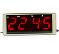 Ultra large display LED digital wall clock metal case plug alarm clock led electronic table clock