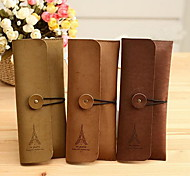 Retro Suede Leather Tower Pencil Case Large Capacity Classic Stationery Bags(Random Color)