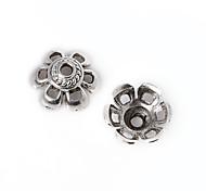28pcs beadia plata antigua granos de la aleación del casquillo de 10x5mm forma de la flor granos del espaciador