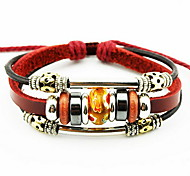 Women Alloy Red Circle Leather Bracelets