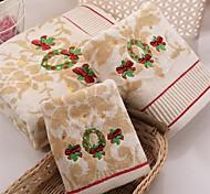 3 Pcs Full Cotton Bath Towel Set Super Soft Floral Pattern for Christmas