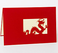 3D Three-Dimensional Paper-Cut Dragon Greeting Cards Mid-Autumn Festival Gifts Business Lunar New Year Postcards