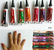 7pcs Nail Henna Multi Color Nail Polish Herbal Mehandi Tube For Beautiful Nail Art 5g