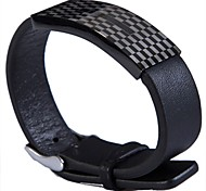 Fashion Men's Grid Pattern 316L Stainless Steel Leather Bracelets