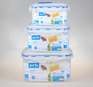 yooyee ensemble de la marque de l'emballage alimentaire hermétique 3pcs de qualité alimentaire rectangulaire avec le casier