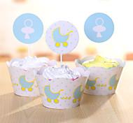 Favores y regalos de la fiesta Cajas de la torta Papel duro Cumpleaños Tema Clásico Cilindro Sin personalizar Papel duro Azul12Piezas /