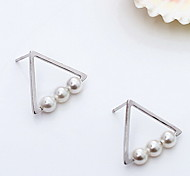 Silver Pearl Sterling Silver Fashion Statement Jewelry Geometric Silver Golden Jewelry Daily Casual 1 pair