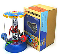 Pretend Play  Puzzle Toy  Wind-up Toy Novelty Toy  Cylindrical  Merry-go-round Metal Blue For Kids