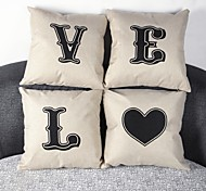 Set Of 4 L.O.V.E Linen Pillow Cover