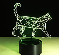 Cool Animal Light 3D Vision Walking Cat Night Light For Children Color Changing Bedroom Mood Baby Nightlight