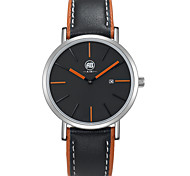 Doris Silver Case Black Dial Black Leather Strap Watch With Orange Hands