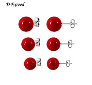 D Exceed Fashion Accessories Earring Pearl Size Stud EarringSet Red Pearl Earrings for Women