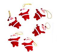 6pcs pequeños de color rojo decoración de Navidad de Papá Noel regalos de Navidad / productos de Navidad / árbol de navidad