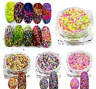 3g Mixed Colors Shining Nail Cheese Glitter Sequins Powder Nail Art Manicure Pigment Beauty Nail Decorations SN09-16