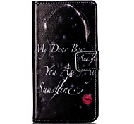 For Sony XP M4 Case Cover Red Lips Girl Pattern Painting Card Stent PU Leather Phone Case