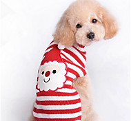 Cat / Dog Sweater Red Dog Clothes Winter / Spring/Fall Stripe Cute / Christmas / New Year's