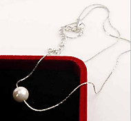 Necklace Imitation Pearl Pearl Strands / Pearl Necklace Jewelry Daily / Casual Fashion Pearl / Sterling Silver Silver 1pc Gift