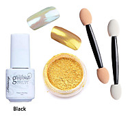 3pcs/set Shinning Mirror Nail Glitter Powder Black UV Gel Nail Art Chrome Pigment Kit with Brush