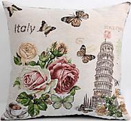 fronha de linho / caso, recurso torre de tecido tradicional / clássico flor inclinada