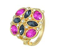 Colorful Rhinestone Flower Finger Rings