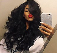 Stylish Middle Part Body Wave Hair High Temperature Wig Jet black Color Black Women Natural Daily Wearing