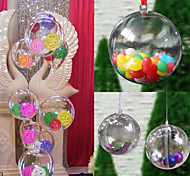 10PCS Christmas Tree Decor Ornament 5CM Ball Type Box Transparent Plastic Craft Christmas Gift Boxes Transparent