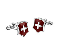 Cufflinks 2pcs,Color Block Dark Red Fashionable Cufflink Men's Jewelry
