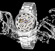 BOSCK Men's  Automatic Mechanical Hollow Dial China Dragon Animal Gold Steel Band Wrist Watch