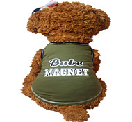 Holdhoney Dog Vest Dark Green/Light Green Dog Clothes Summer Letter & Number Fashion #LT15050280