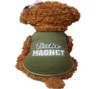 Perros Chaleco Verde Ropa para Perro Verano Letra y Número Moda