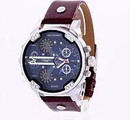 Men's Military Fashion Dual Time Big Dial Leather Calendar Quartz Watch Wrist Watch Cool Watch Unique Watch