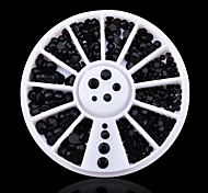 Mix 3sizes Black 3d Nail Rhinestone Pearls Art Flatback  Sticker Decoration Wheel