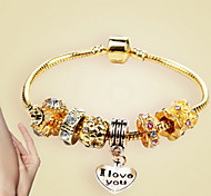Bracelet Chain Bracelet / Charm Bracelet Alloy Heart Fashion Casual Jewelry Gift Gold1pc