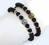Beadia 1Pc 8mm Black Glass Bead Strand Bracelet Buddha Lion Bracelet Christmas Gifts