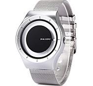 Men's Dress Watch Fashion Watch Unique Creative Watch Wrist watch / Quartz Stainless Steel Band Cool Black White Silver