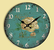 1PC Vintage Blue Flower  Sitting Room Wall Clock Fashion  Pastoral Contracted   Quartz Clock(Pattern is Random)