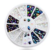 White AB Black Glitter Nail Rhinestone Pearls Wheel Round Heart Designs Acrylic Flat Back Nail Art Decorations