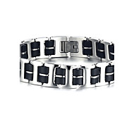Men's ID Bracelets Jewelry Halloween/Party/Birthday/Daily/Casual Fashion Stainless Steel/Silicone /Black 1pc  Gift