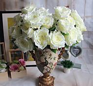 1 1 Филиал Полиэстер / Пластик Розы Букеты на стол Искусственные Цветы 22*5.1inch/56*13cm