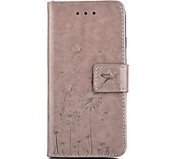 Dandelion Embossed PU Leather Material Leather  for iPhone 6s 6 Plus SE 5s 5