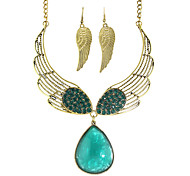 Costume Colorful Rhinestone Wings Shape Fashion Jewelry Sets