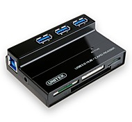 UNITEK 3 Ports USB 3.0 Hub with Multi-In-1 Card Reader with 5V 2A Adapter and USB 3.0 Cable for PC