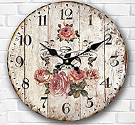 1PC Occident Wall Clock European Style Pastoral Horologe Retro Clock (Pattern is Random)