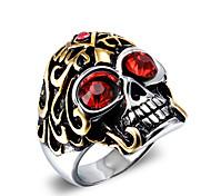 Муж. Массивные кольца Мода Винтаж Панк бижутерия Циркон Титановая сталь В форме черепа Бижутерия Назначение Повседневные Новогодние