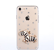Handmade Rhinestone A zebra Pattern PC Hard Case for iPhone 7 7 Plus 6s 6 Plus SE 5s 5 4s 4