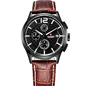 LONGBO Men's Dress Watch Water Resistant / Water Proof Noctilucent Quartz Leather Band Casual Black